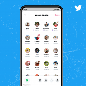 So sieht das Twitter Spaces Menü aus.